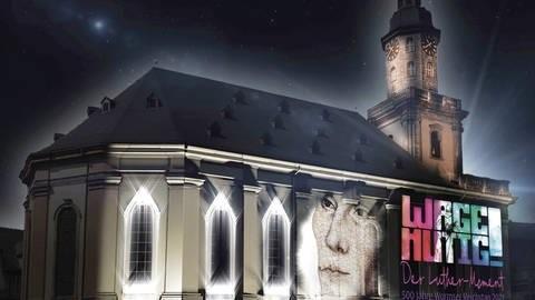 Luther in Worms - Multimedia-Inszenierung auf der Dreifaltigkeitskirche.© SWR/EKHN/S15Media